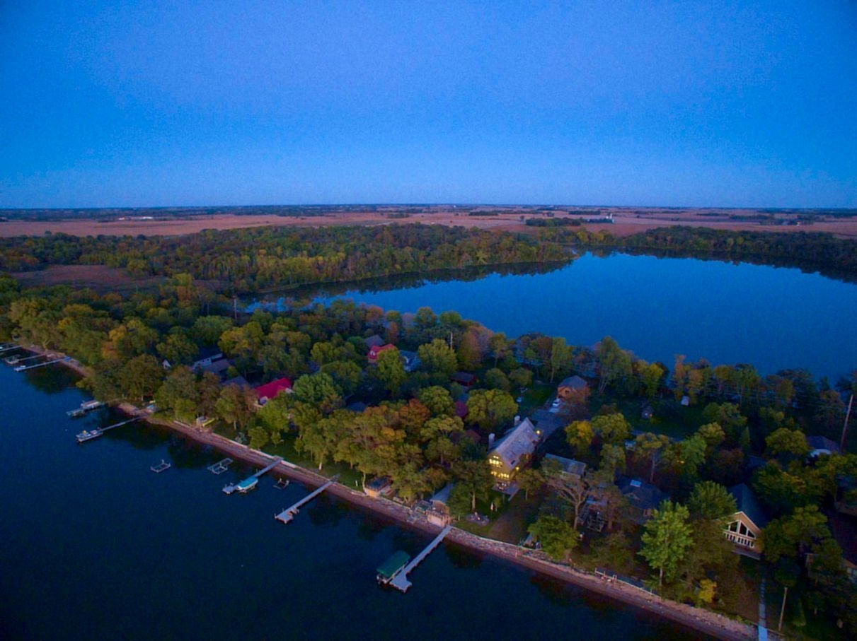Central Minnesota Lake Cabin aerial view