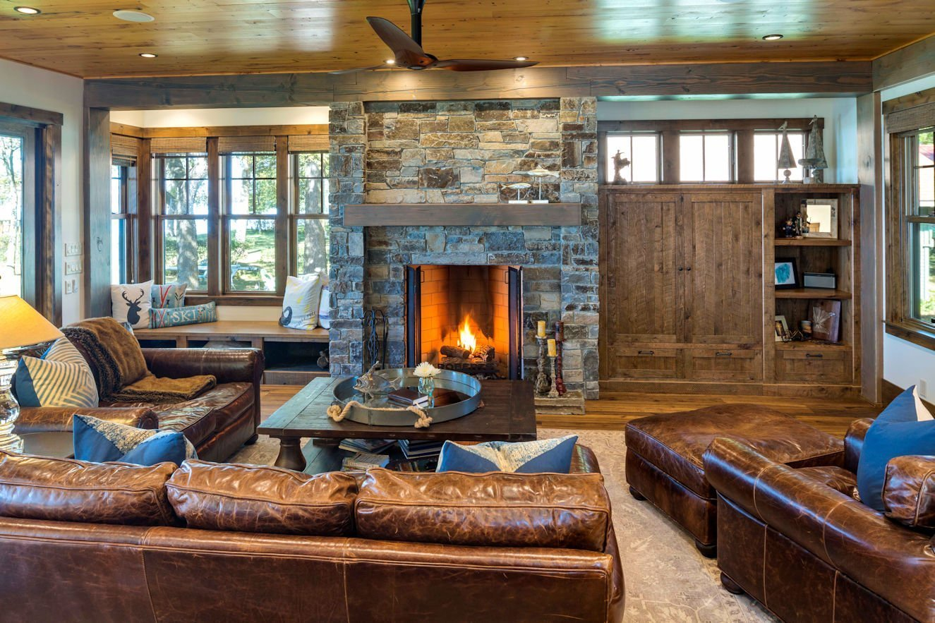 Central Minnesota Lake Cabin stone fireplace