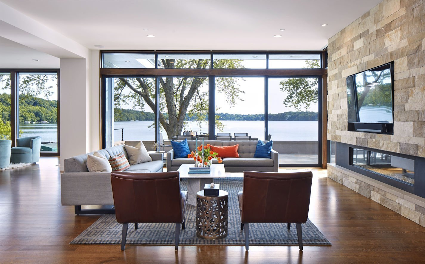 Christmas Lake Contemporary living room