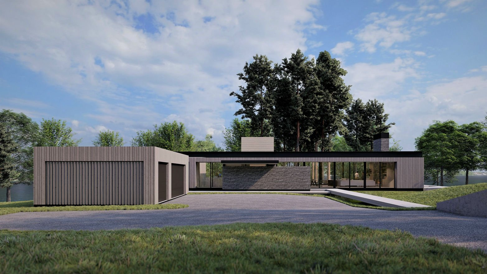 Modern Lakehouse architectural draft renderings by Charlie & Co. Design