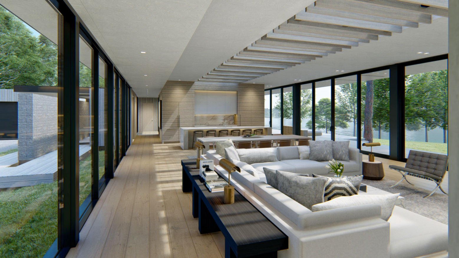 Modern Lakehouse great room draft rendering