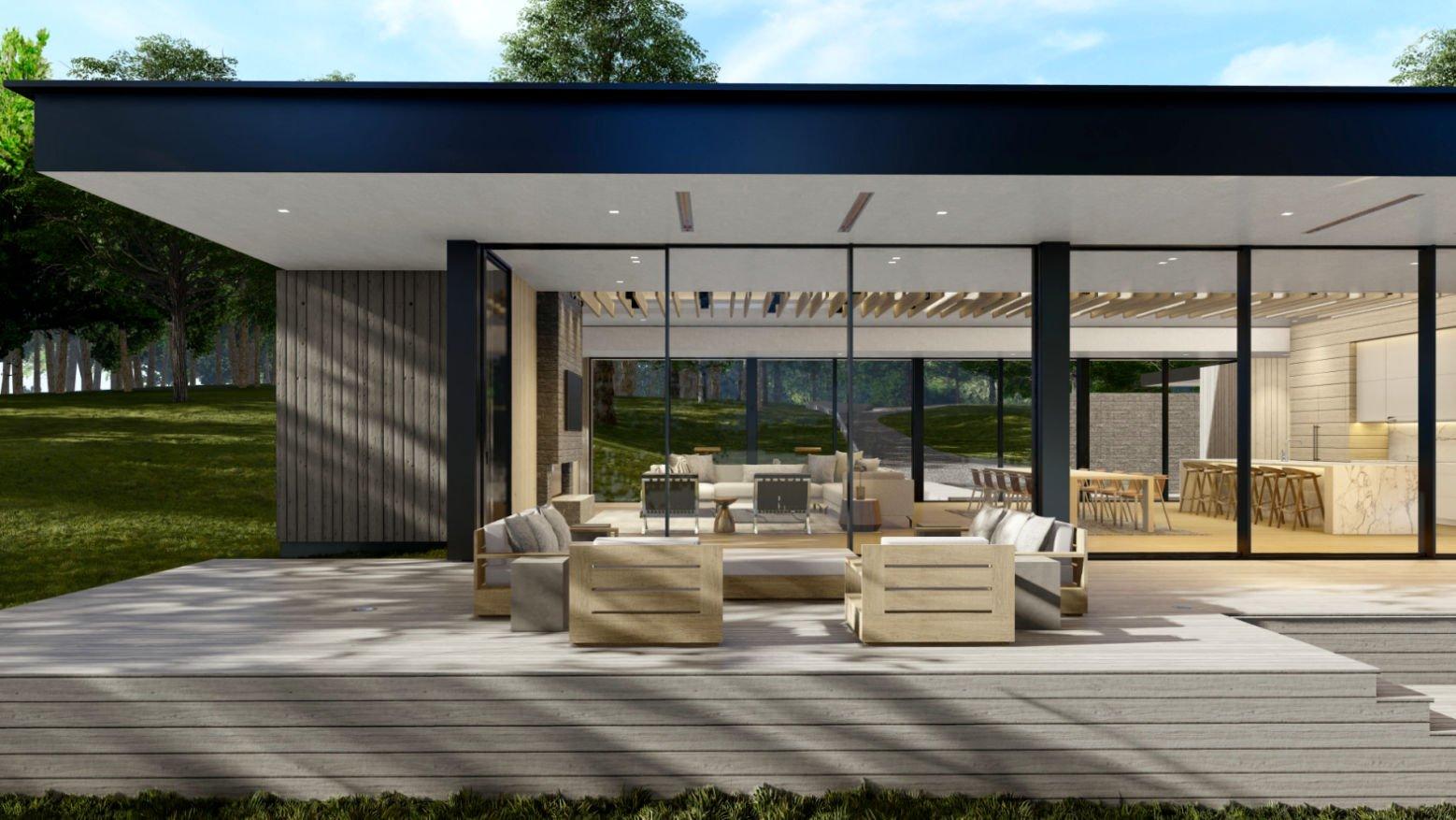 Modern Lakehouse patio draft rendering