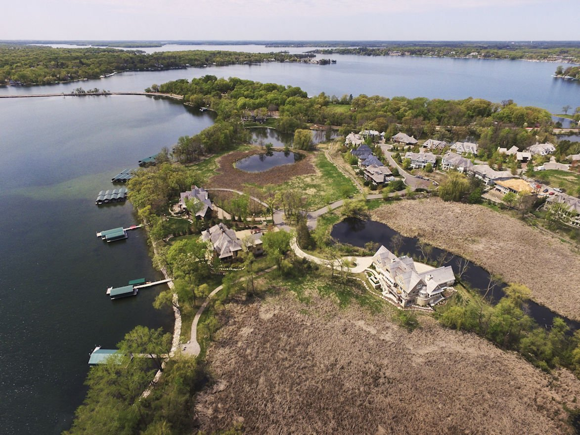 aerial view of completed Minnetonka Shingle Style home
