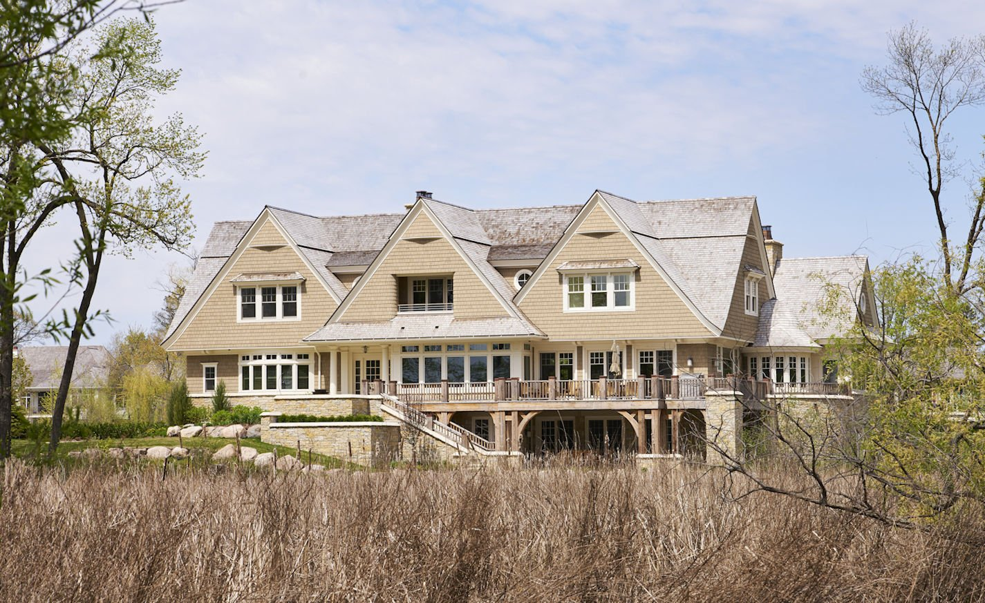 exterior view of Minnetonka Shingle Style home
