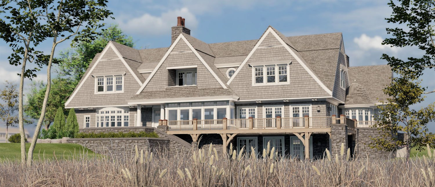 rendering of Minnetonka Shingle Style home