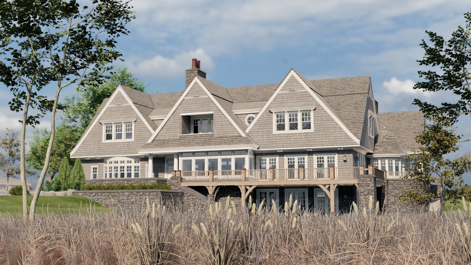 architectural rendering of Minnetonka Shingle Style home
