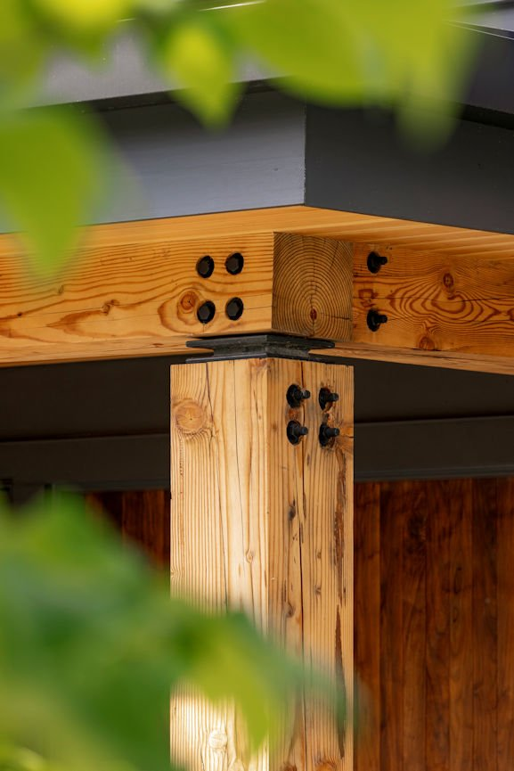 beam detail in Modern Montana Retreat