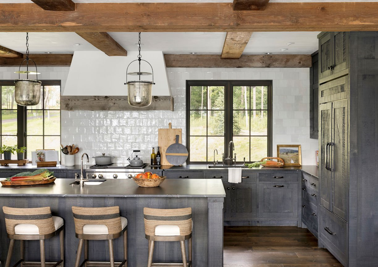 kitchen in Rustic Western Lodge by Charlie & Co Design
