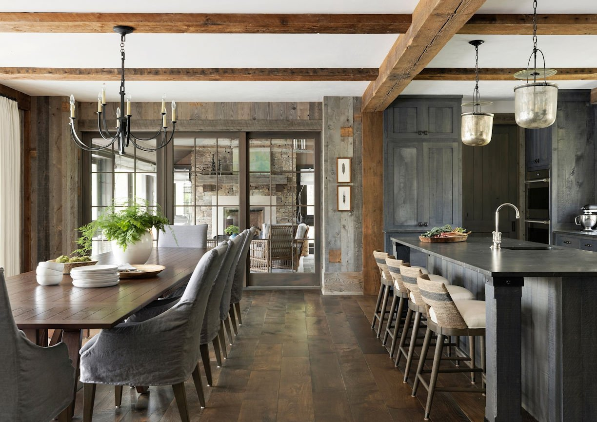 dining room in Rustic Western Lodge by Charlie Simmons of Charlie & Co Design