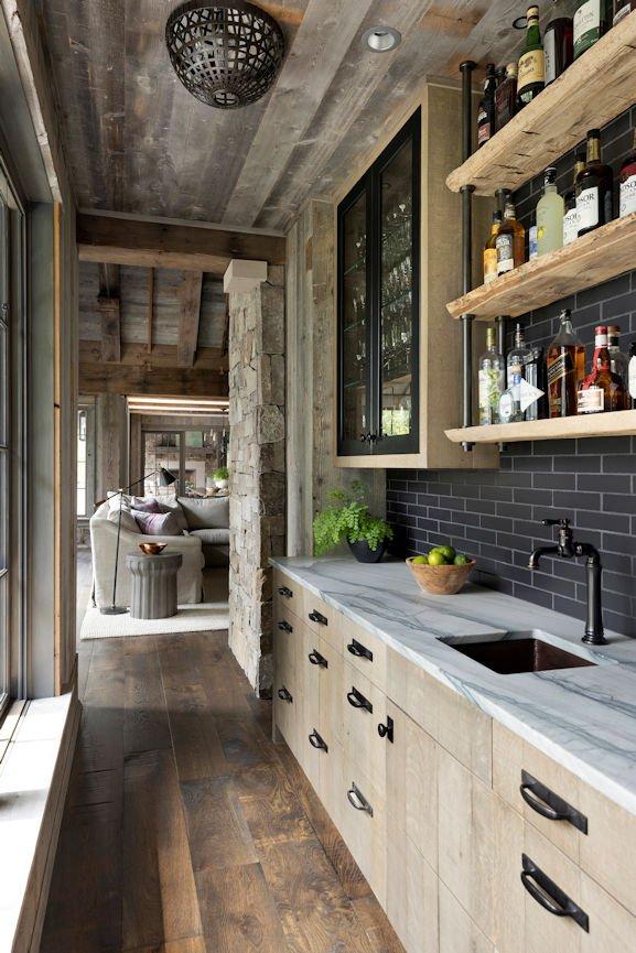 pantry in Rustic Western Lodge