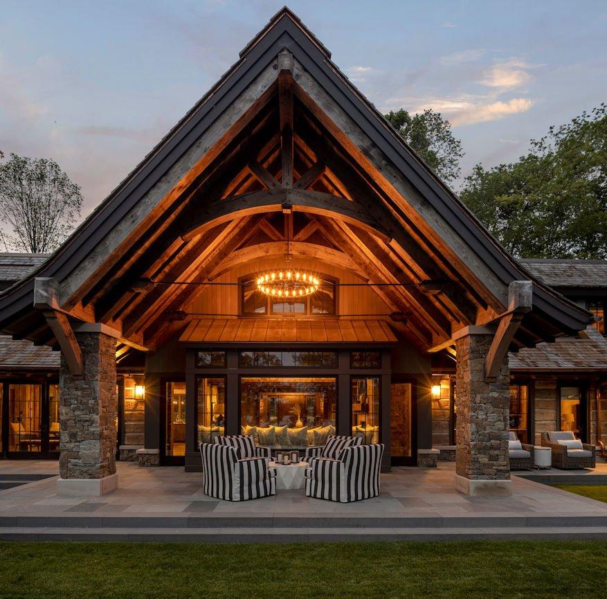 patio behind Rustic Western Lodge