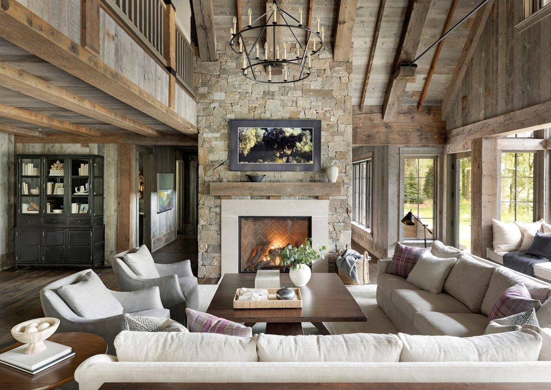 great room in Rustic Western Lodge